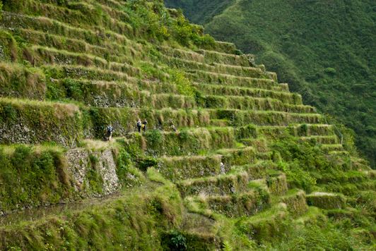 hiking across the Batad Rice Terraces