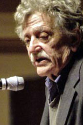 Mr. Vonnegut speaks at Case Western Reserve University.  Picture courtesy of the Wikimedia Foundation.