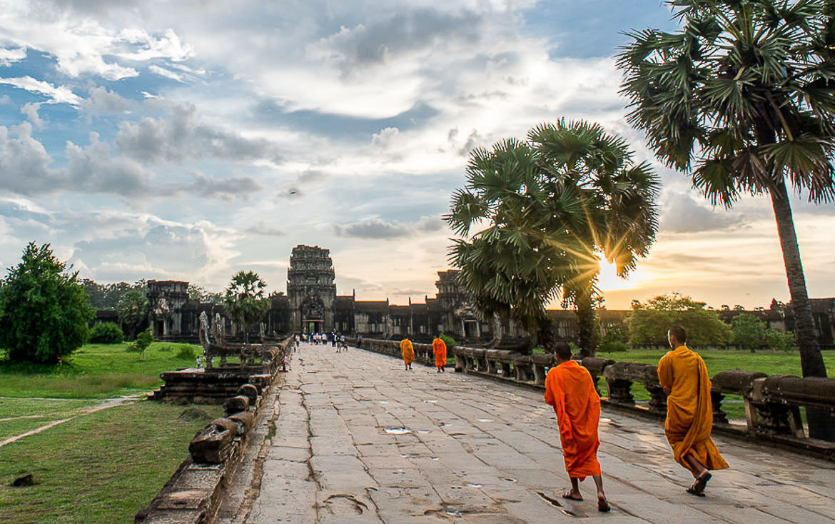 Angkor Wat monks at sunset