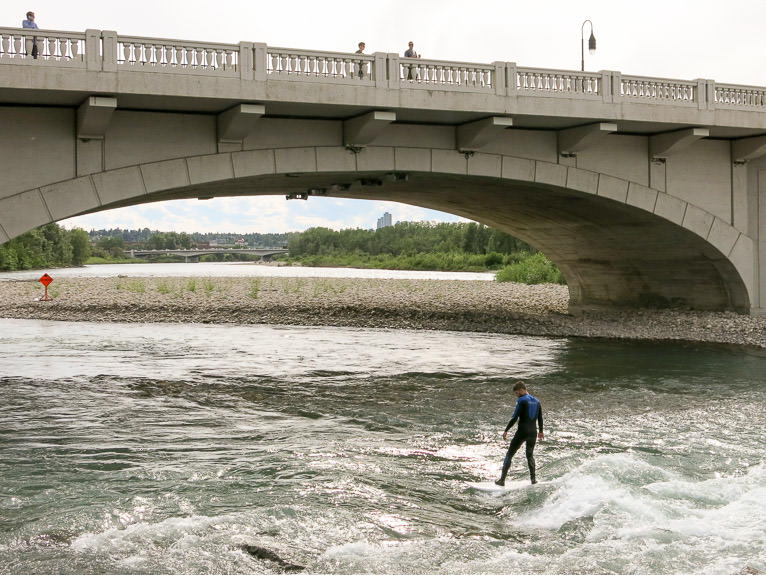 Surfing the Bow River, Calgary