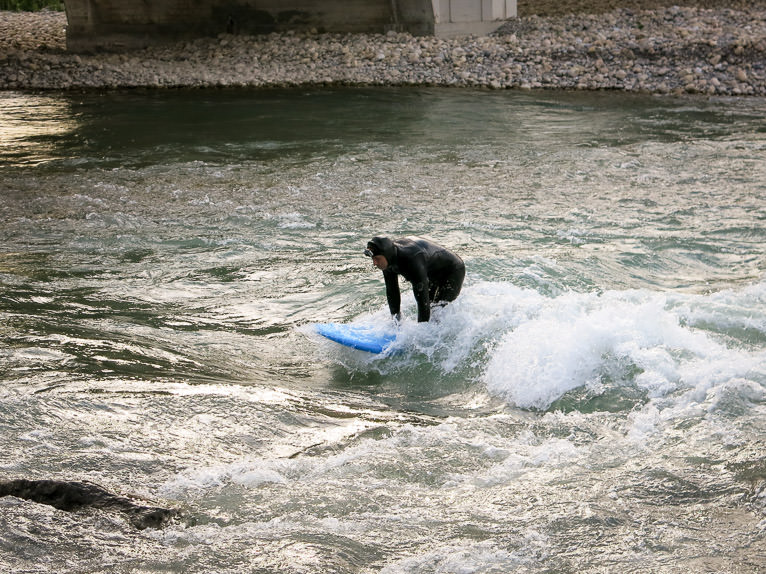 Surfing on the Bow River, Calgary