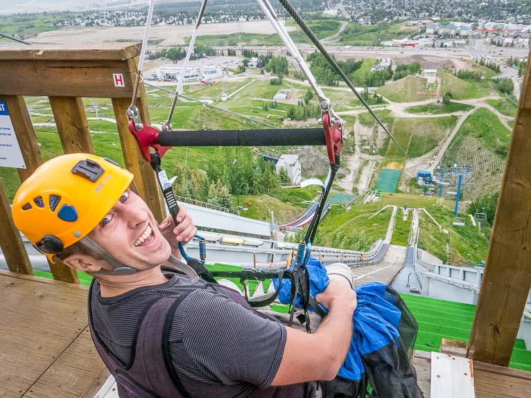 ziplining at the Canada Olympic Park