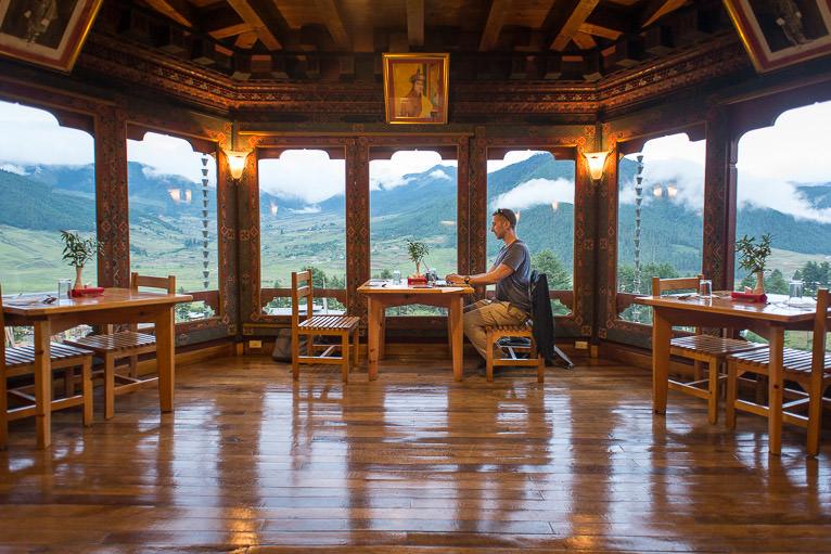 Hard at work at a mountain lodge in Bhutan