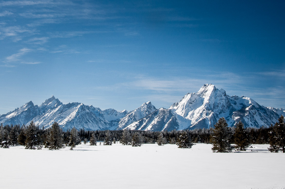 Yellowstone National Park winter Tetons