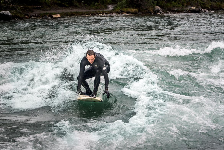 River Surfing Calgary Kananaskis surfer front