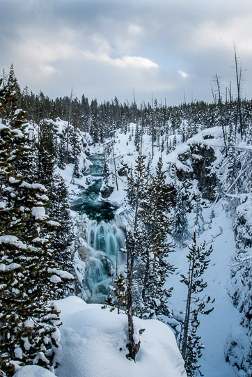 Yellowstone National Park winter waterfall