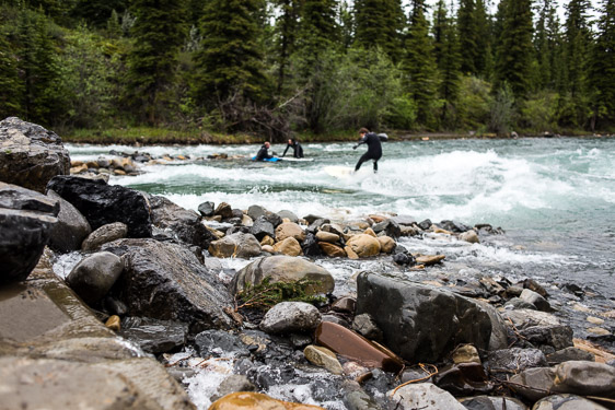 River surfing Calgary Kananaskis rocks