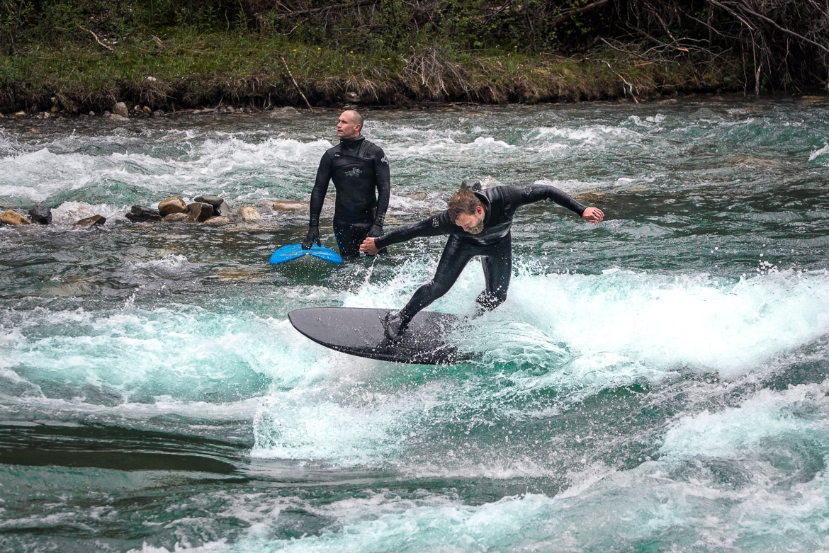 River surfing Calgary Kananaskis rear
