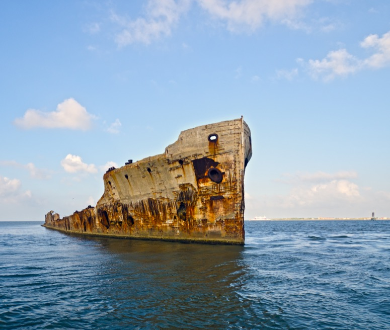 The SS Selma, one of only 12 concrete ships manufactured during a steel shortage in 1919, which is just off the coast of Galveston.